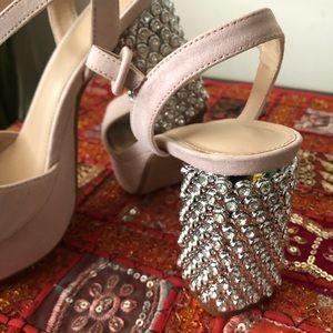 TopShop Pink/Cream Jeweled Heel Platform Sandals